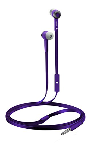 Coby CVE-101-PRP Stereo Earbuds with Built-In Mic, Purple