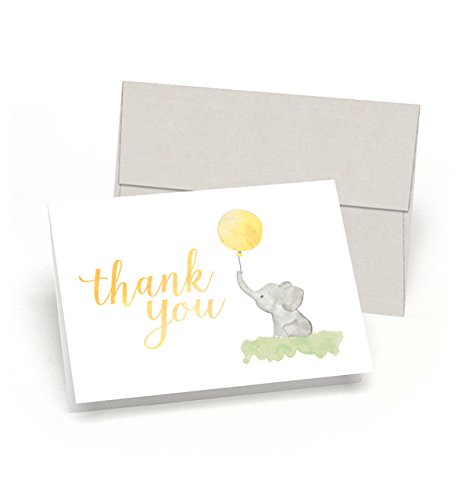 Beautiful Baby Shower Thank You Cards (Set of 10 Cards + Envelopes) - Watercolor Elephant & Yellow Balloon - By Palmer Street Press