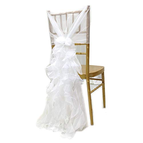 NNBX Chiffon Curly Long Chair Skirt Tutu Tulle Sach Chair Cover for Party Sinple Wedding Decoration (White)