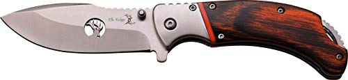 Elk Ridge ER-A162BW-MC ER-A162BW 3.5mm Satin Blade with Clip Satin Blade, Brown Pakkawood Handle, 4.25″