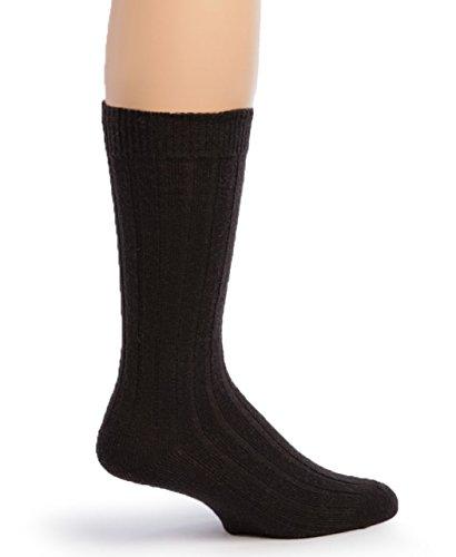 Warrior Alpaca Socks - Men's Superfine Alpaca Ribbed Dress Socks Black -