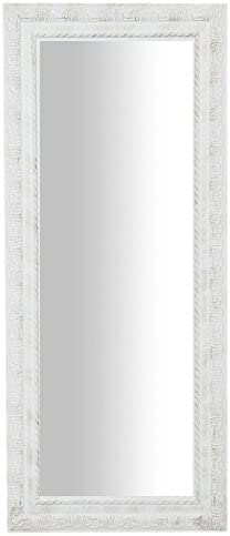 Biscottini Vertical/Horizontal Antiqued White Finish W35xDP2xH82 cm Sized Hanging Mirror