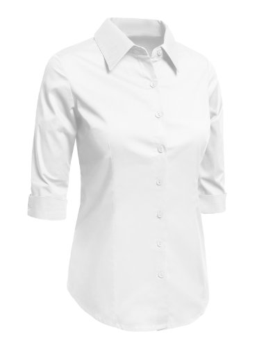 0d8a6391 LE3NO Womens Plus Size Roll Up 3/4 Sleeve Button Down Shirt with Stretch