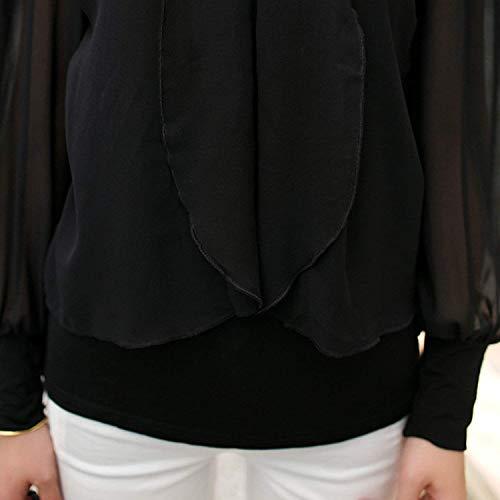Vetement Top Manche Schwarz Chemisiers Mode Slim Blusen Uni Manches Top Casual Fit Printemps Mode Col Loisir Jeune Longues Volants Femme Debardeur Basic Rond Elgante Chemise 0ErExqwg
