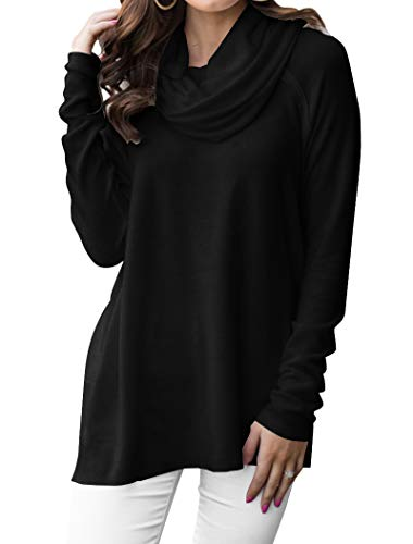 Minclouse Women's Long Sleeve Cowl Neck Pullover Tops Loose Casual Sweatshirts Black (Solid Cowl Neck Sweater)