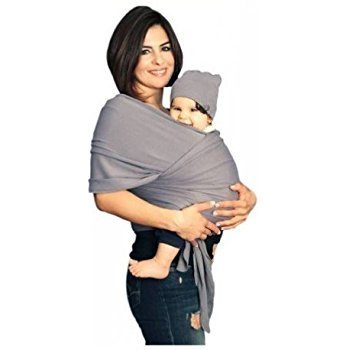 Baby Wrap Carrier 4-in-1 - Baby Sling - Infant Carrier - up to 35 lbs - Hands Free Baby Carrier Wrap | Great Baby Shower Gift (Grey) by 1st Class IM