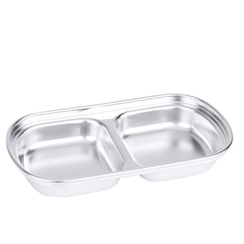 Freebily Glazed Stainless Steel Dipping Bowl Sauce Dish Snack Tray Condiment Relish Dip Bowls 2-Grid One Size by Freebily (Image #1)