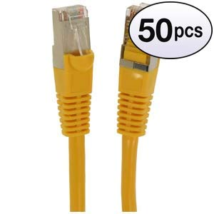 GOWOS Cat6 Shielded Ethernet Cable (50-Pack - 20 Feet) Yellow - 24AWG Network Cable with Gold Plated RJ45 Molded/Booted Connector - 10 Gigabit/Sec High Speed LAN Internet/Patch Cable - 550MHz (Blackweb Cat6 Flat Network Cable 50 Ft)