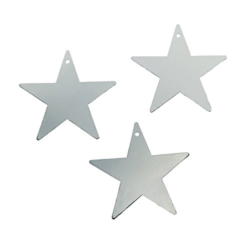 Fun Express Silver Star Cardboard 12 Inch Cutout - 12 Pieces