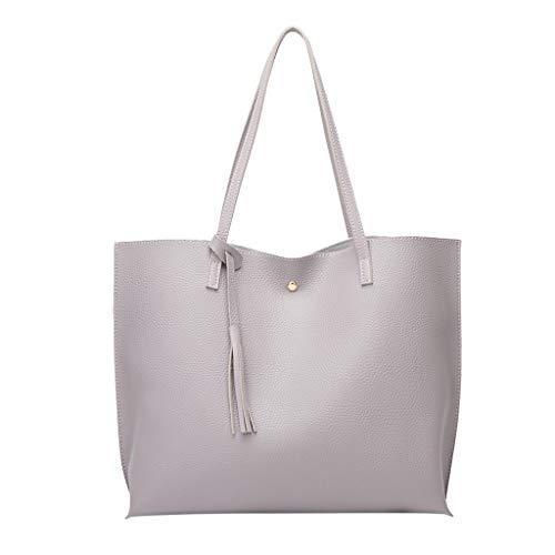 - OFEFAN Women's Soft Leather Tote Shoulder Bag from OFEFAN, Big Capacity Tassel Handbag