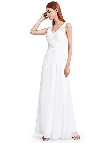 Elegantes Ever en v Noche Mujer Encaje Vestidos con Pretty para 08871 Cuello Blanco de de RIpqTI
