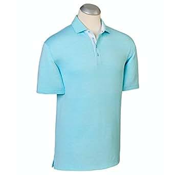 Bobby Jones Mens Lux Pima Cotton Stripe Polo Shirt - Serenity - S