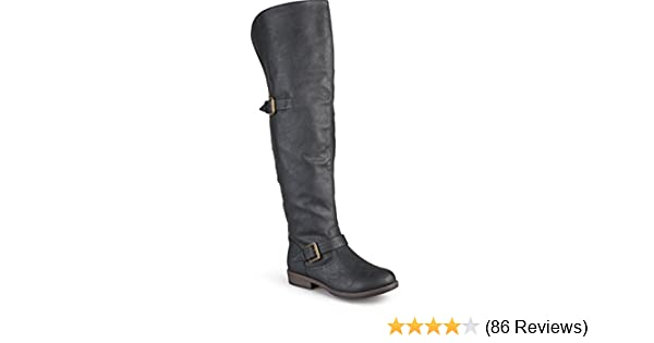 8069269900d5 Journee Collection Women's Studded Over-The-Knee Inside Pocket Buckle Boots