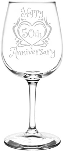 (50th) Heart & Ribbon Happy Anniversary Inspired – Laser Engraved 12.75oz Libbey All-Purpose Wine Taster Glass Review