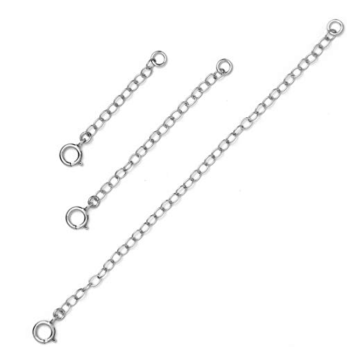 (BENIQUE Necklace Extenders for Women - 925 Sterling Silver, 14K Gold Filled, Fully Adjustable Chain, Dainty Durable Strong Lightweight Removable, Made in USA, Set of 3 (925/Set 1