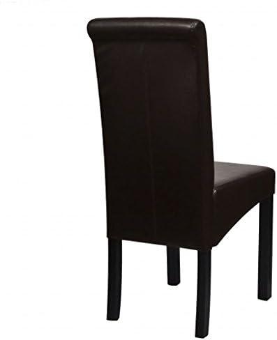 Lingjiushopping Chaise de Salle a Manger 2 pcs Cuir Synthetique MarronCouleur : Marron Materiaux : Pieds en Bois + Rembourrage en Cuir Synthetique Chaise de Salle a Manger