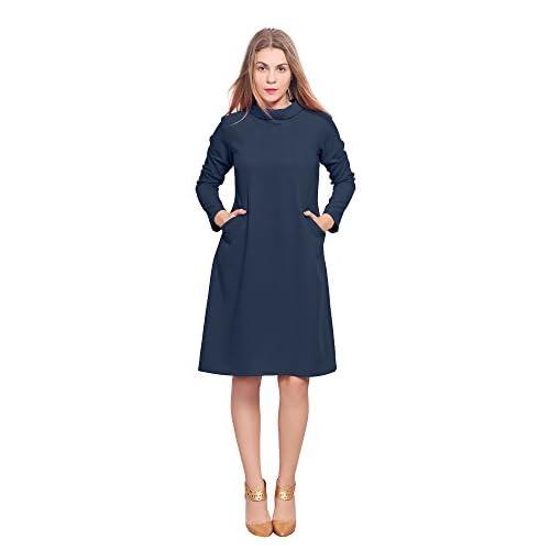 78c2af1691d Marycrafts Womens Classy Vintage 1960s High Neck Sleeve A Line Dress best