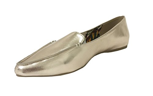 Stark! Door De Stad Geclassificeerd Womens Puntige Moc Teen Loafers Licht Goud Kunstleer