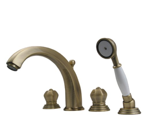 Whitehaus 514.423TF-ACO Blairhaus Washington 7 7/8-Inch Deck Mount Tub Filler Set with Crown-Shaped Turn Handles, Antique Copper
