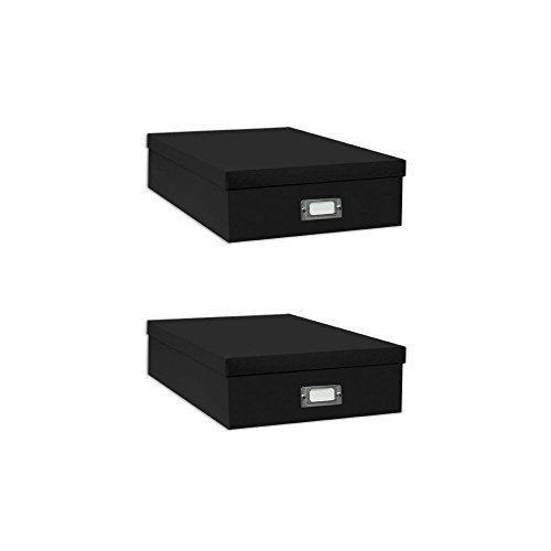Pioneer Jumbo Scrapbook Storage Box, Black, 14.75 Inch x 13 Inch x 3.75 Inch (Two Pack)