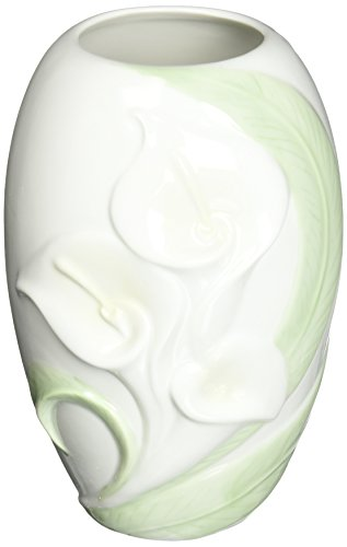 Ceramic Etched Vases - Cg 10353 Small White Vase Etched with Calla Lily Design