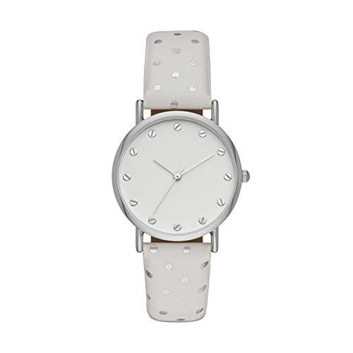 (ZouZou Women's Three-Hand Watch White Polka Dot Vegan Leather Strap (FMDZZ012))