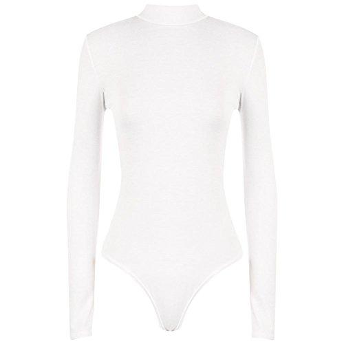 Janisramone Body de cuello alto para mujer, señoras, manga larga, elástico blanco