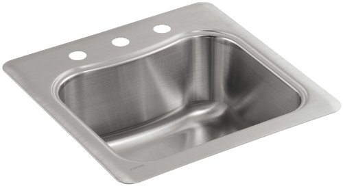 KOHLER K-3363-3-NA Staccato Single-Basin Self-Rimming Entertainment Sink, Stainless Steel Self Rimming Bar Sink
