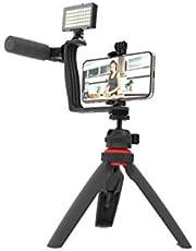 """DigiPower Vlogging Set""""Superstar"""" met LED-videolamp + microfoon + mobiele telefoonhouder + hoekhouder met twee flitsschoenadapters + mini-statief, compatibel met smartphones, voor TikTok, Youtube"""