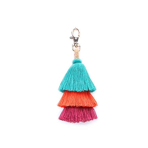 -  Orcbee  _Fashion Women Layered Colorful Boho Pom Pom Tassel Bag Charm Key Chain Gift (Green)