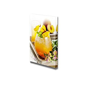 Canvas Prints Wall Art - Refreshing Summer Cocktail with Peach | Modern Wall Decor/Home Decoration Stretched Gallery Canvas Wrap Giclee Print & Ready to Hang - 24