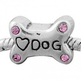 Buckets of Beads Rhinestone Dog Bone Charm Bead, -