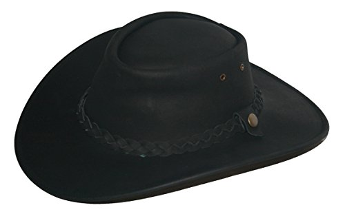 (Old Harry's Hats Men's Australian Style Leather Western Hat X-Large Black)