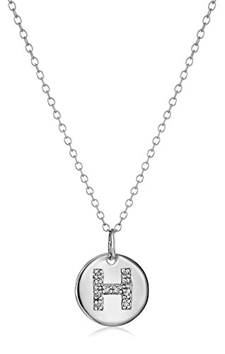 """Sterling Silver Diamond Disc Initial """"H"""" Pendant Necklace, 18"""""""