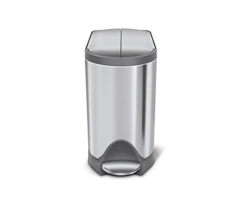 simplehuman 10 Liter / 2.6 Gallon Butterfly Lid Bathroom...