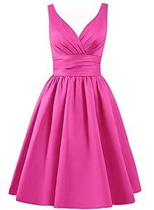 JAEDEN Bridesmaid Dress Short Prom Dresses Satin Evening Party Dress V Neck Bridesmaid Dresses