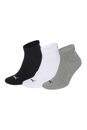 Puma Men's & Women's 3 Pair Training Quarter Socks 4.5-7 Black / White / Grey