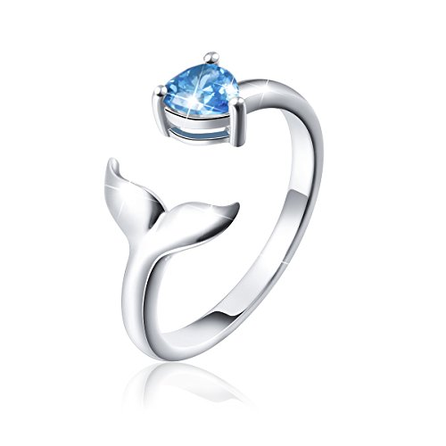 Ladytree S925 Sterling Sliver Dolphin Mermaid Tail Ring Cubic Zirconia Open Ring,7# ()