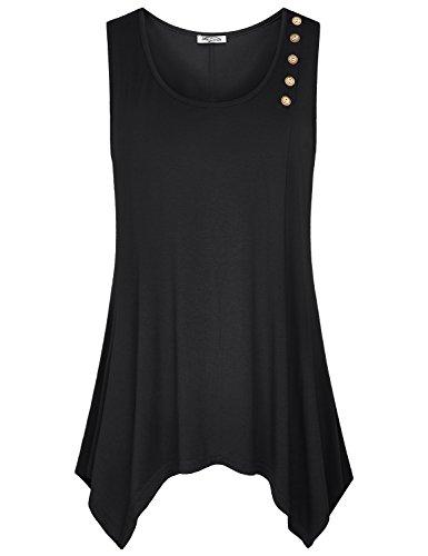 Plus Size Dresses Designer - SeSe Code Tunic Dress Tank Tops for Women Long Length Loose Fit 2XL Shirt Cute Pretty Scoop Neck Plain Handkerchief Hem Sleeveless Shirts Black XX Large