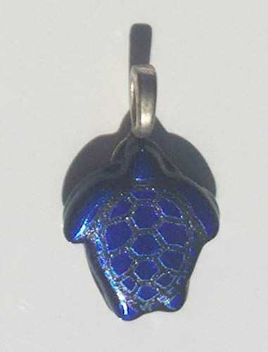 Blue Turtle Laser Engraved Etched Dichroic Fused Glass ()