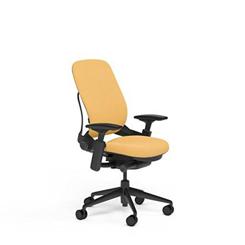 Steelcase Leap Desk Chair in Buzz2 Sunrise Fabric - Highly Adjustable Arms - Black Frame and Base - Soft Dual Wheel Hard Floor Casters
