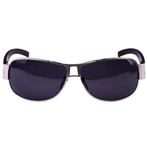 Protection Eyewear Métal de UV LINNUO Aviateur Noir Cadre Sunglasses Femmes Hommes Cadre Polarisées Noir Lentille Lunettes Soleil H1gwqz