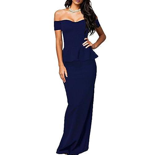 J&Design Women Peplum Drop shoulder Cocktail Party Maxi Evening Dress Blue L