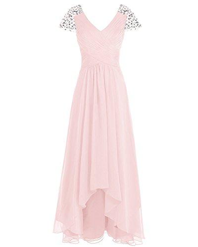 Brautjungfer Rosa V Abschlussballkleid Frauen Fl Asbridal Lang Chiffon rmel Kleid B gel ansatz rdelnd RUPROqWnx