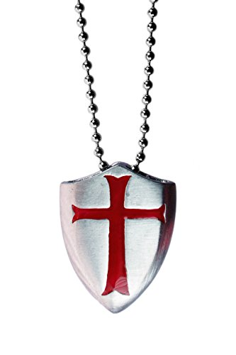 (exoticdream Knight Templar Shield Crusader Cross Medallion Medieval Amulet Defense Protection Thick Pendant Necklace (Red + Ball Chain,)