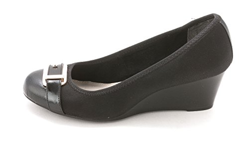 Alfani Womens Tomina Round Toe Wedge Pumps, Black, Size 7.5