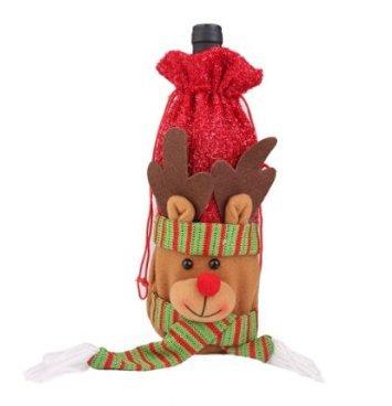 Li_unmio Set de botellas de vino tinto navideño Adornos de navidad Set de botellas de vino tinto navideño