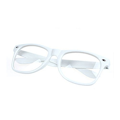 FancyG Classic Retro Fashion Style Clear Lenses Glasses Frame Eyewear - - Nerd White Glasses