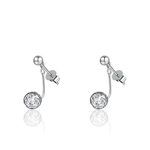 Or blanc 58514ct Piercing barbell Boule Dangle Boucles d'oreilles clous 2voies cadeau anniversaire pour femme