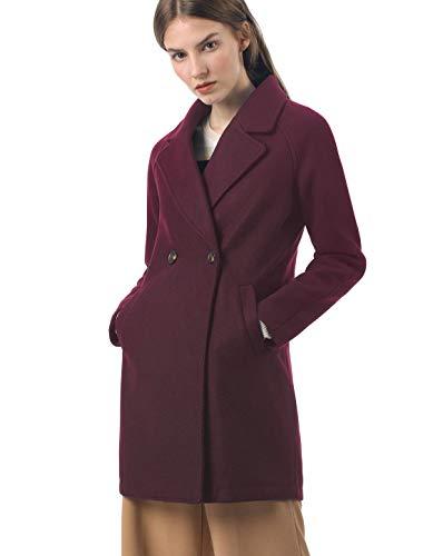 - Allegra K Women's Notched Lapel Double Breasted Raglan Winter Coats Burgundy M (US 10)